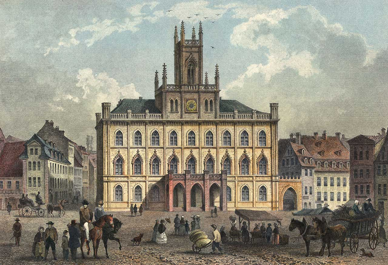 Photo: Marktplatz square in Weimar in 1850. Carl Zeiss grew up in the house second to the right of the town hall (Wikimedia Commons / public domain).