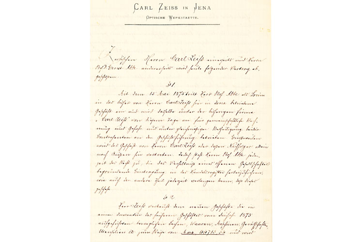 In April 1875, Abbe wrote a letter to Zeiss in which he asked for a share of the profits generated by optical production. Zeiss responded on 19 May 1875 with an offer that far exceeded Abbe's expectations, offering him a real share in the entire company – including the mechanical workshop and retail business. The details were finalized in a partnership agreement dated 15 May 1875, which was not signed until the summer of 1876 at the earliest.  As per the agreement, Abbe was not, as initially intended, entitled to a third of the business, but became equal partner.<br />(Photo: ZEISS Archives)