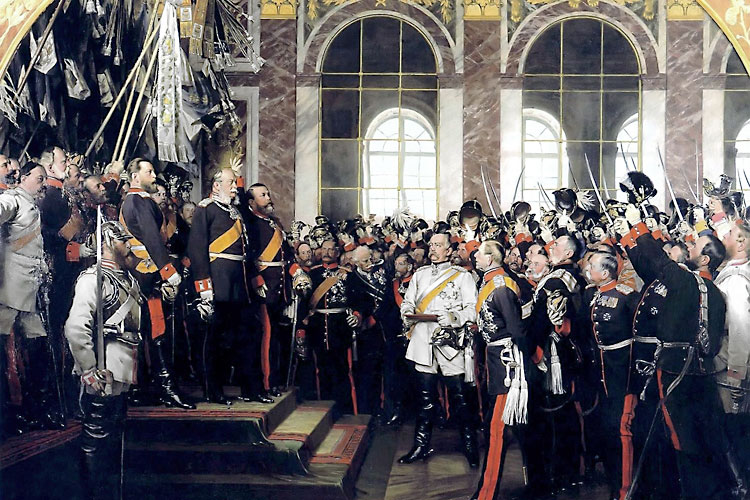 Since the failed revolution of 1848, the issue of a unified German nation had been hotly contested. There was intense debate between the supporters of the greater German solution that involved annexing Austria, and the smaller German solution under sole Prussian rule. The wars of the 1860s decided the matter at hand. After the Franco-Prussian war of 1870/71, the King of Prussia was proclaimed the German Emperor at the Castle of Versailles.<br/ >(Photo: The proclamation of the German Empire, 1885, Wikimedia Commons / public domain / Anton von Werner)
