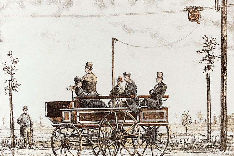 From the mid-19th century onwards, electrical engineering and the chemical industry became increasingly important. Large, modern companies came into being. They produced commodities, which were sold across the globe. This was linked to the growing importance of research and development for the newly established companies.<br/>(Photo: The first electric bus produced by Siemens in Berlin in 1882, Siemens Corporate Archives)