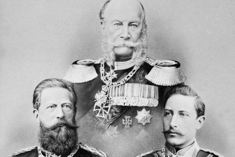 The year in which Carl Zeiss passed away went down in German history as the Year of the Three Emperors. The conservative Wilhelm I (1797 – 1888) was followed by Friedrich III (1831 – 1888), who embodied the hope of the liberal German bourgeoisie. His time as emperor, however, was short-lived. His son Wilhelm II (1859 – 1941) focused all his attention on his aspirations for great power. He was hailed as the symbolic figure of Germany's authoritarian state.<br/>(Photo, above: Emperor Wilhelm I; bottom left: Emperor Friedrich III; bottom right: Emperor Wilhelm II, Imperial War Museum London [HU 68357], http://www.iwm.org.uk/collections/item/object/205018337)