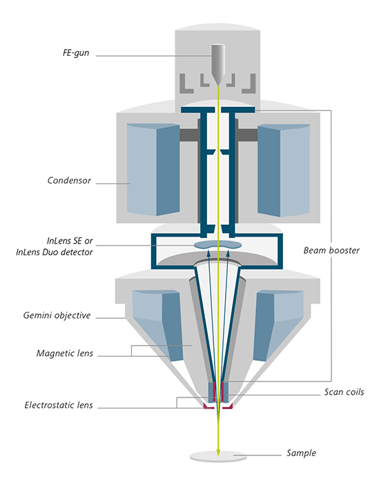 Schematic cross section of Gemini optical column.