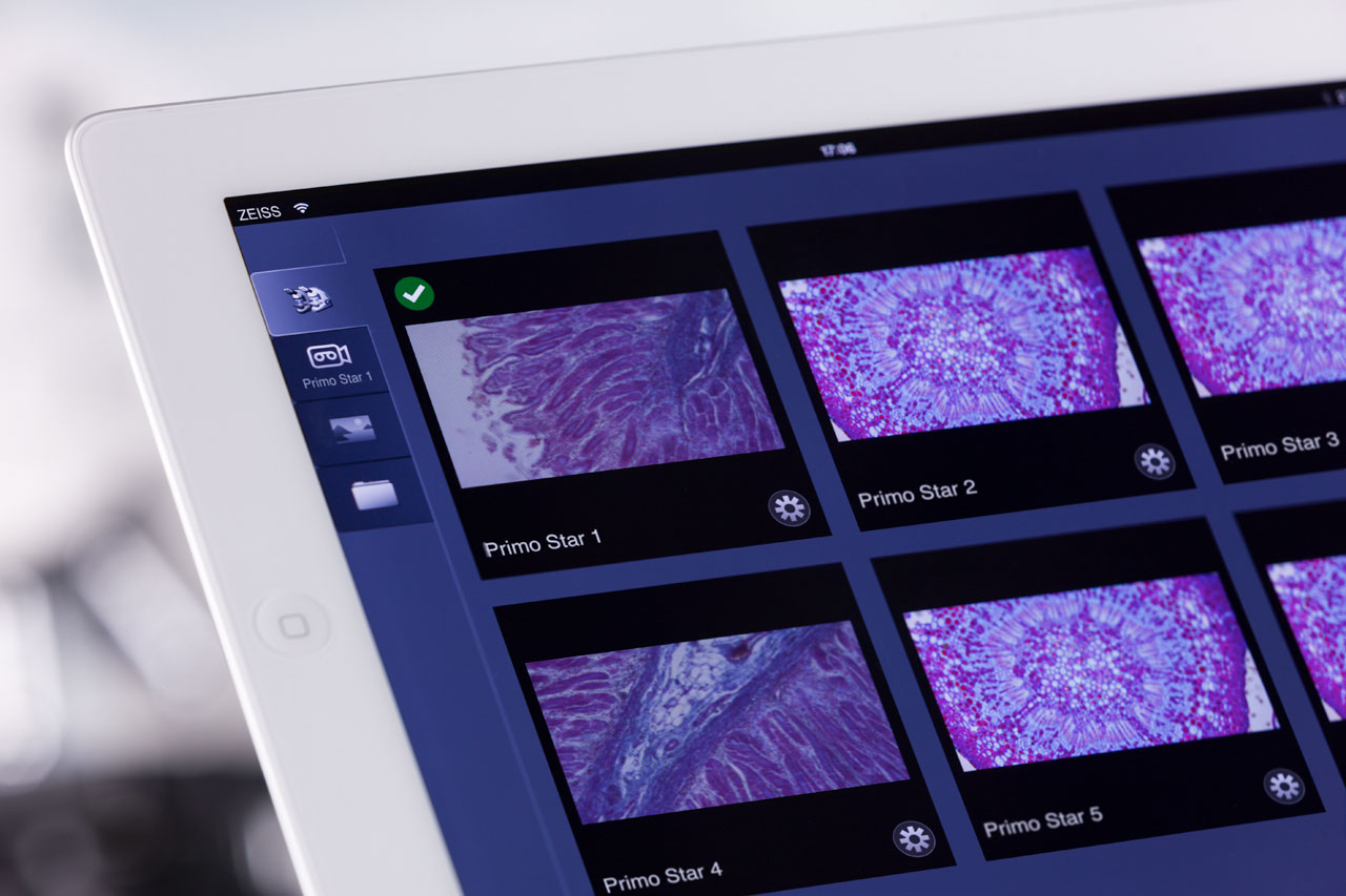 Enjoy live images and view live thumbnails from your connected microscopes, and easily switch between all microscopes in the room