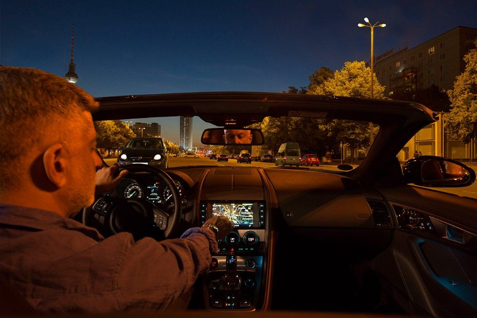 Man driving car at nighttime