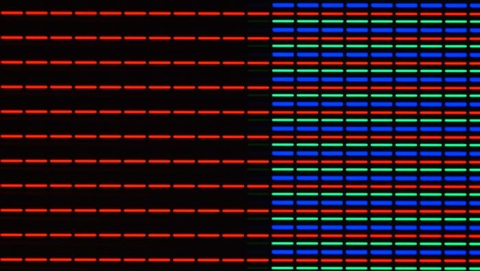 Pixels in a smartphone LCD-Screen, AxioZoom.V16, self-illumination of Display, Objective: 1x