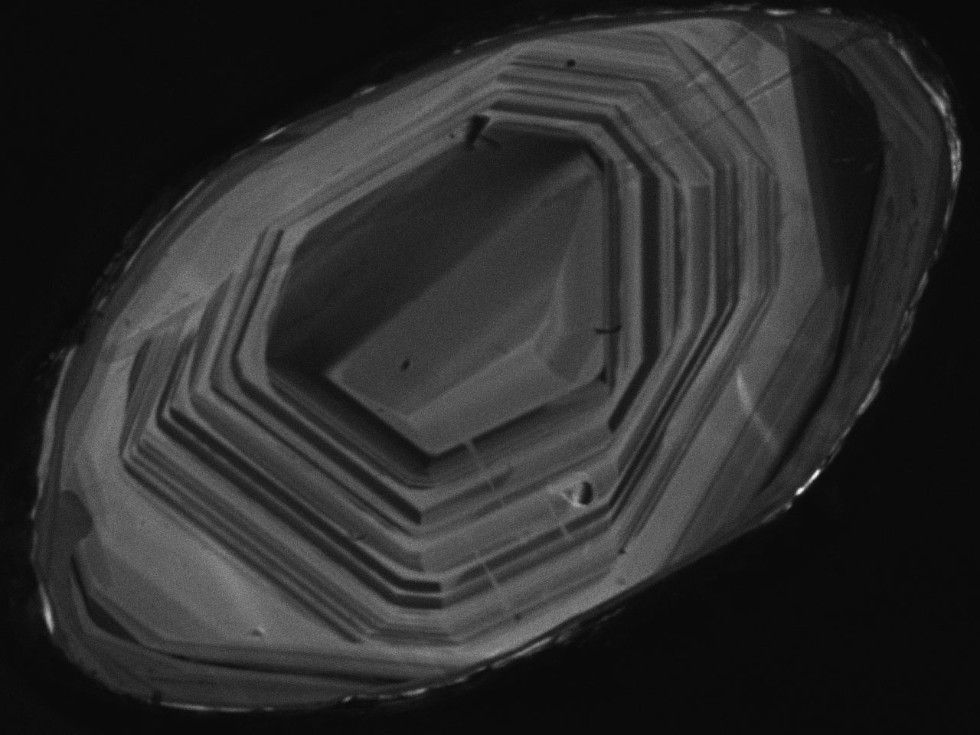 A cathodoluminescence image of a natural zircon